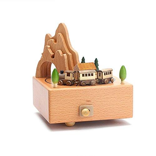 Boite A Musique En Bois Carrousel Mecanique Boite A Musique Enfant Chambre Decoration Belle Selection De Cadeaux Petit Train
