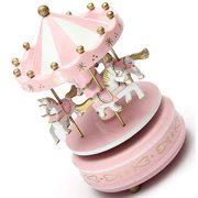 Carrousels-SODIALRManege-chevaux-musical-bois-carrousel-boite-a-musique-jouet-jeu-pr-enfant-bebe-rose-0-0