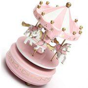 Carrousels-SODIALRManege-chevaux-musical-bois-carrousel-boite-a-musique-jouet-jeu-pr-enfant-bebe-rose-0-1