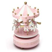Carrousels-SODIALRManege-chevaux-musical-bois-carrousel-boite-a-musique-jouet-jeu-pr-enfant-bebe-rose-0