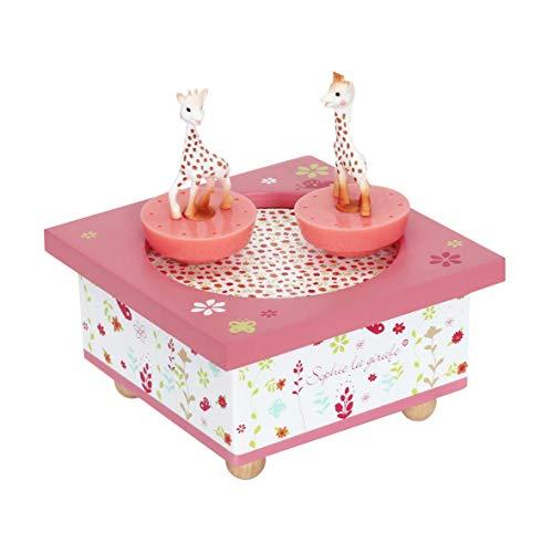 TROUSSELIER-Bote–Musique-Dancing-Sophie-la-Girafe-2-Figurines-Amovibles-Musique-Feelings-Coloris-Rose-0